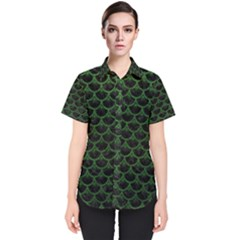 Scales3 Black Marble & Green Leather Women s Short Sleeve Shirt