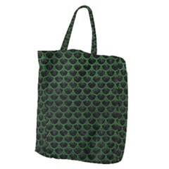 Scales3 Black Marble & Green Leather Giant Grocery Zipper Tote