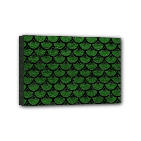 Scales3 Black Marble & Green Leather (r) Mini Canvas 6  X 4