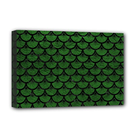 Scales3 Black Marble & Green Leather (r) Deluxe Canvas 18  X 12