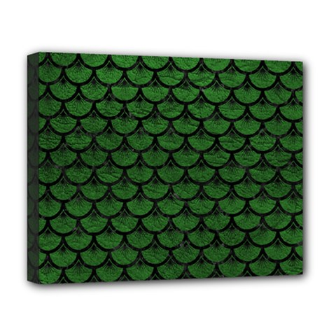 Scales3 Black Marble & Green Leather (r) Deluxe Canvas 20  X 16