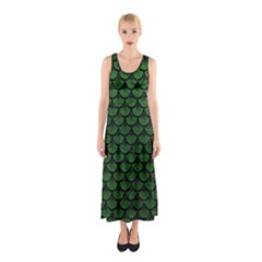 Scales3 Black Marble & Green Leather (r) Sleeveless Maxi Dress