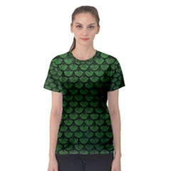 Scales3 Black Marble & Green Leather (r) Women s Sport Mesh Tee