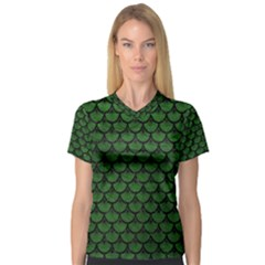 Scales3 Black Marble & Green Leather (r) V Neck Sport Mesh Tee