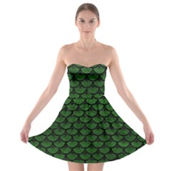 Scales3 Black Marble & Green Leather (r) Strapless Bra Top Dress