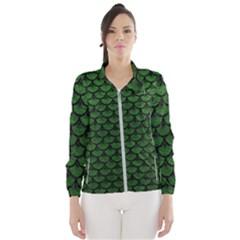 Scales3 Black Marble & Green Leather (r) Wind Breaker (women)