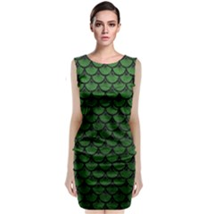 Scales3 Black Marble & Green Leather (r) Classic Sleeveless Midi Dress