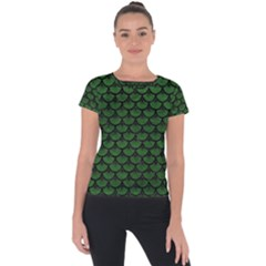 Scales3 Black Marble & Green Leather (r) Short Sleeve Sports Top