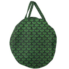 Scales3 Black Marble & Green Leather (r) Giant Round Zipper Tote