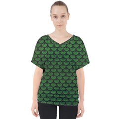 Scales3 Black Marble & Green Leather (r) V Neck Dolman Drape Top