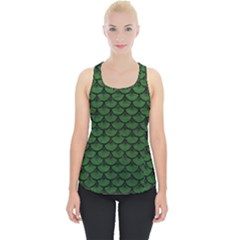 Scales3 Black Marble & Green Leather (r) Piece Up Tank Top