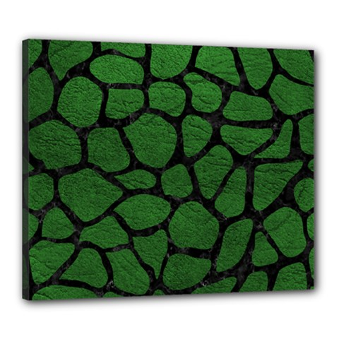Skin1 Black Marble & Green Leather Canvas 24  X 20
