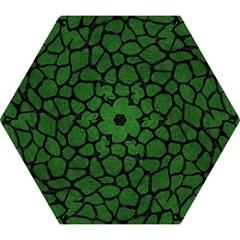 Skin1 Black Marble & Green Leather Mini Folding Umbrellas