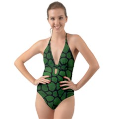 Skin1 Black Marble & Green Leather Halter Cut Out One Piece Swimsuit
