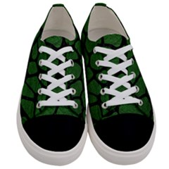 Skin1 Black Marble & Green Leather Women s Low Top Canvas Sneakers
