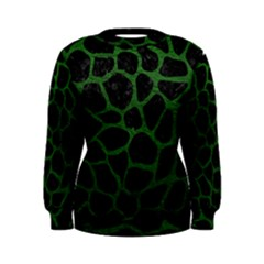 Skin1 Black Marble & Green Leather (r) Women s Sweatshirt