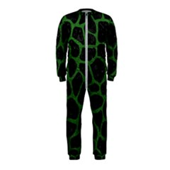 Skin1 Black Marble & Green Leather (r) Onepiece Jumpsuit (kids)