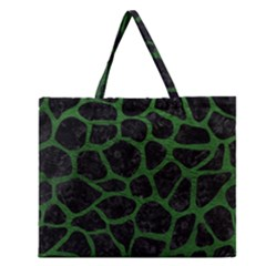 Skin1 Black Marble & Green Leather (r) Zipper Large Tote Bag