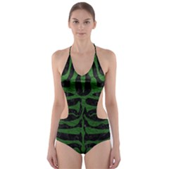 Skin2 Black Marble & Green Leather Cut Out One Piece Swimsuit