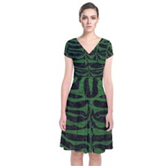 Skin2 Black Marble & Green Leather Short Sleeve Front Wrap Dress