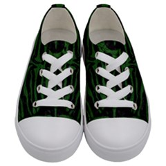 Skin2 Black Marble & Green Leather Kids  Low Top Canvas Sneakers