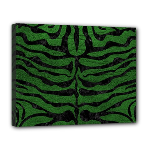 Skin2 Black Marble & Green Leather (r) Canvas 14  X 11