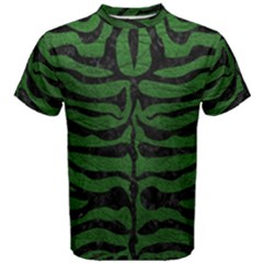 Skin2 Black Marble & Green Leather (r) Men s Cotton Tee
