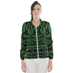 Skin2 Black Marble & Green Leather (r) Wind Breaker (women)
