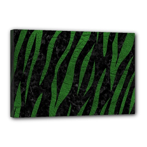 Skin3 Black Marble & Green Leather Canvas 18  X 12