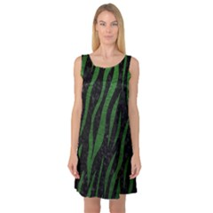 Skin3 Black Marble & Green Leather Sleeveless Satin Nightdress