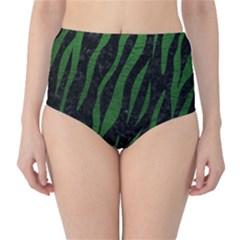 Skin3 Black Marble & Green Leather High Waist Bikini Bottoms