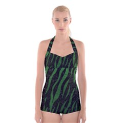 Skin3 Black Marble & Green Leather Boyleg Halter Swimsuit