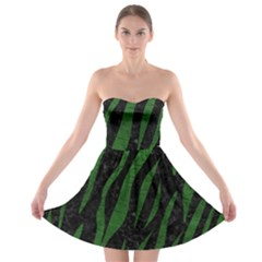 Skin3 Black Marble & Green Leather Strapless Bra Top Dress