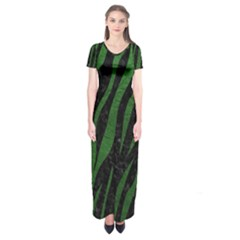 Skin3 Black Marble & Green Leather Short Sleeve Maxi Dress