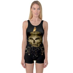 Golden Skull With Crow And Floral Elements One Piece Boyleg Swimsuit