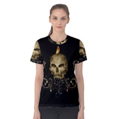 Golden Skull With Crow And Floral Elements Women s Cotton Tee