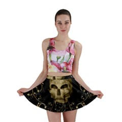 Golden Skull With Crow And Floral Elements Mini Skirt