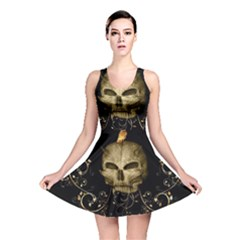 Golden Skull With Crow And Floral Elements Reversible Skater Dress