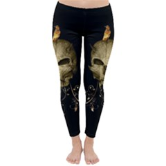 Golden Skull With Crow And Floral Elements Classic Winter Leggings