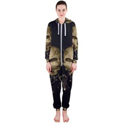Golden Skull With Crow And Floral Elements Hooded Jumpsuit (ladies)