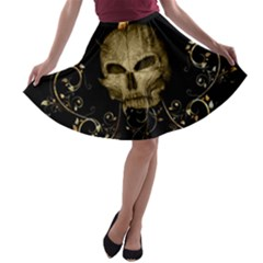 Golden Skull With Crow And Floral Elements A Line Skater Skirt