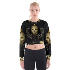 Golden Skull With Crow And Floral Elements Cropped Sweatshirt
