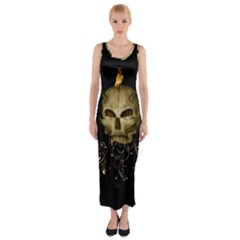 Golden Skull With Crow And Floral Elements Fitted Maxi Dress