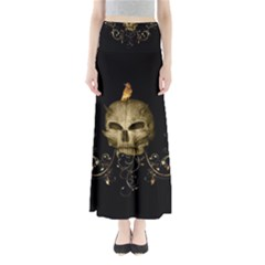 Golden Skull With Crow And Floral Elements Full Length Maxi Skirt