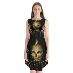 Golden Skull With Crow And Floral Elements Sleeveless Chiffon Dress