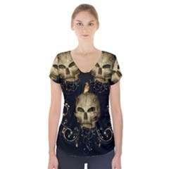 Golden Skull With Crow And Floral Elements Short Sleeve Front Detail Top