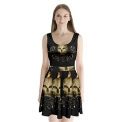 Golden Skull With Crow And Floral Elements Split Back Mini Dress