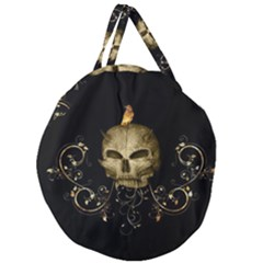 Golden Skull With Crow And Floral Elements Giant Round Zipper Tote
