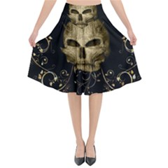 Golden Skull With Crow And Floral Elements Flared Midi Skirt