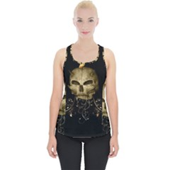 Golden Skull With Crow And Floral Elements Piece Up Tank Top